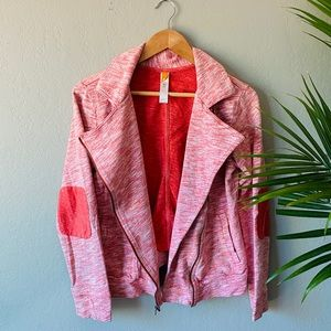 Lucy Marled Pink Asymmetric Collar Layered Jacket